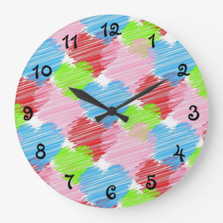 scribble-hearts large clock