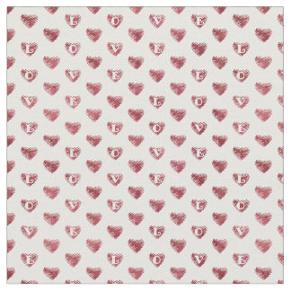 Scribble Hearts w/ LOVE - Wine on Changeable White Fabric