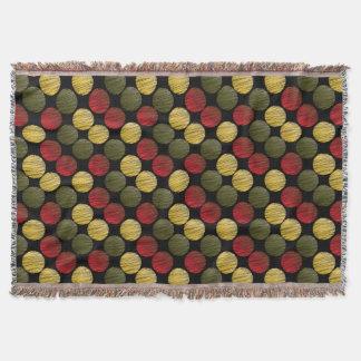 Scribble Ikat Circles | Red, Green, Gold Throw