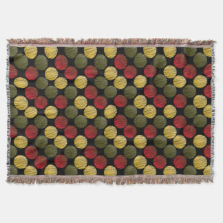 Scribble Ikat Circles | Red, Green, Gold Throw Blanket