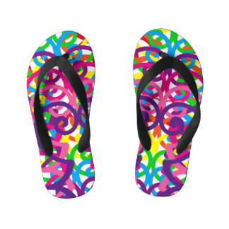 Scribbled Colors Design Kid's Flip Flops