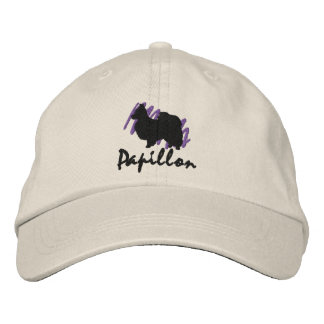 Scribbled Papillon Embroidered Baseball Cap