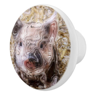 scribbled piglet ceramic knob