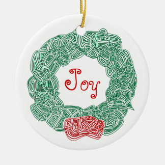 Scribbleprints Wreath - White, on Red Christmas Tree Ornament