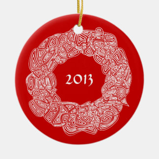 Scribbleprints Wreath - White, on Red Christmas Ornaments