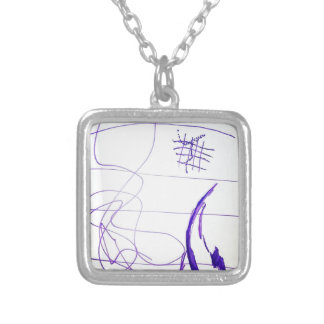 Scribbles Graphs Ideas and Freedom Silver Plated Necklace