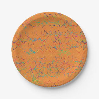 Scribbles on Orange Paper Plate