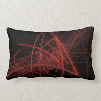 Scribbles- Red On Black Lumbar Pillow
