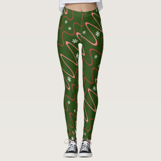 Scribbles & Snowflakes, Holiday corals on green Leggings