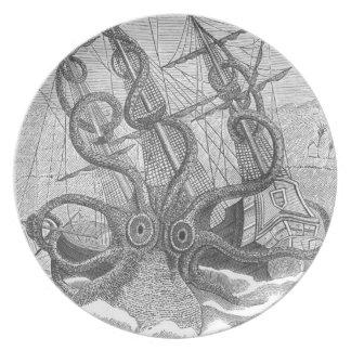 scrimshaw calamari (kraken) plate