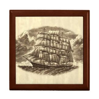 Scrimshaw Sailing Ship Trinket Box