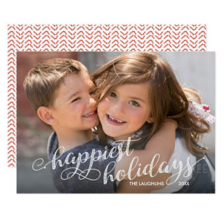 Script and Stripes Happiest Holidays Photo Card