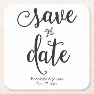 Script Black And White Save The Date Coasters