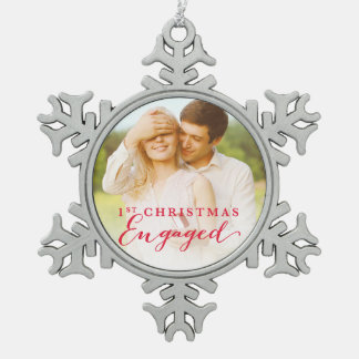 Script First Christmas Engaged Holiday Photo Pewter Snowflake Ornament