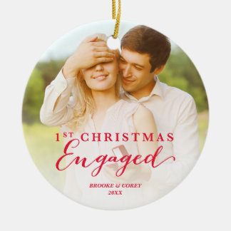Script First Christmas Engaged Holiday Photo Round Ceramic Ornament