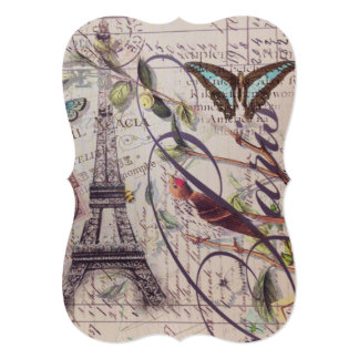 Script French country butterfly Paris Eiffel Tower Card