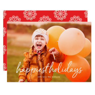Script Lettering Happiest Holiday Photo Card