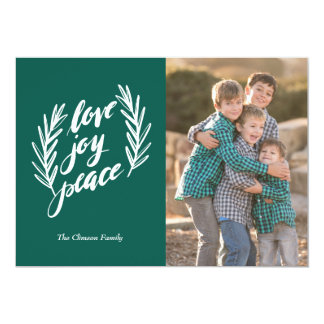 Script love, joy, peace Paper Holiday Photo Card