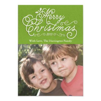 Script Merry Christmas Holiday Photo Card Green