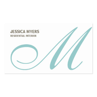 Script Monogram Business Card (Turquoise)
