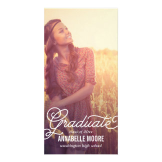 Script Overlay Graduation Announcement Photo Greeting Card