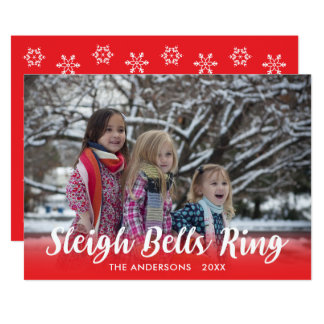 Script Overlay Sleigh Bells Ring Holiday Template Card