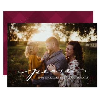 Script Peace Burgandy | Christmas Photo Card