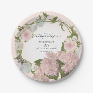 Script Pretty Hydrangea Floral Wreath Hand Painted Paper Plate