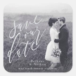 SCRIPT SAVE OUR DATE SQUARE STICKER