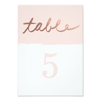 Scripted love Faux Foil Wedding table numbers Card