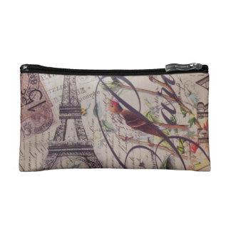 Scripts french bird butterfly Paris Eiffel Tower Makeup Bags
