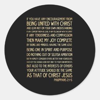 Scriptural Bible Verse - Philippians 2:1-5 Classic Round Sticker