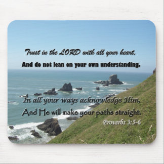 Scripture Art from Proverbs 3:5-6 Mousepad Gift