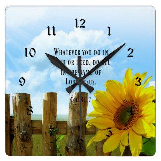 Scripture, Colossians 3:17 Square Wall Clock