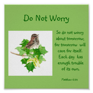 Scripture Do Not Worry with Song Sparrow Poster