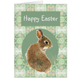 Scripture Easter Greetings with Cute Rabbit Greeting Card