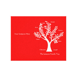Scripture Family Tree Canvas Print Red