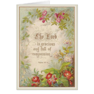 Scripture Flowers Greenery Vintage Antique Card