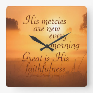 Scripture His mercies are new every morning Square Wall Clock