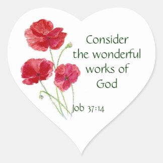 Scripture, Inspirational, Quote, Flower, Poppy Heart Sticker