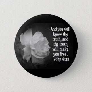 SCRIPTURE John 8:32  Black / White Flowers 2 Inch Round Button