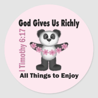 Scripture Panda Bear Classic Round Sticker