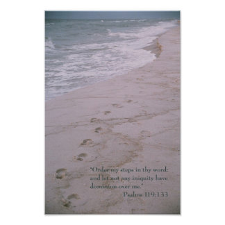 Scripture poster -- footprints with Psalm 119:133