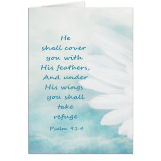 Scripture Psalm 91:4 Refuge Under His Wings Verse Card