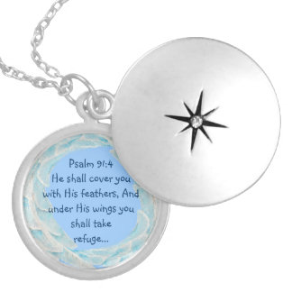 Scripture Psalm 91:4 Refuge Under His Wings Verse Locket Necklace