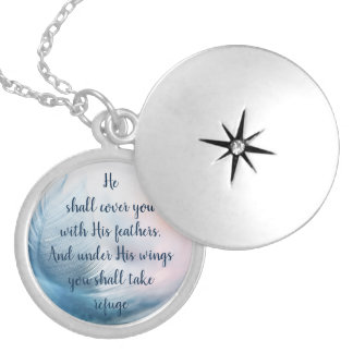 Scripture Psalm 91:4 Refuge Under His Wings Verse Silver Plated Necklace