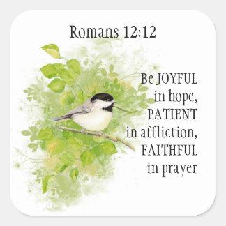 Scripture Romans 12:12 Joyful, Patient, Faithful Square Sticker
