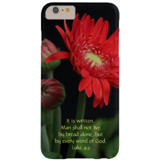 Scripture Verse, Red Gerbera Daisy (Luke 4:4) Barely There iPhone 6 Plus Case