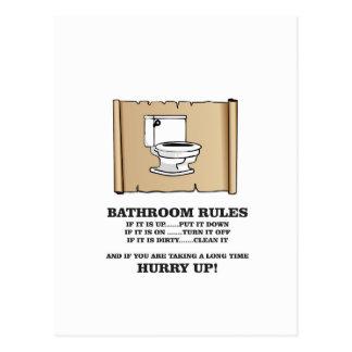 scroll bathroom rules postcard
