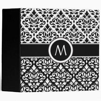 Scroll Damask 2Part Ptn BW & Band (Personalized) Binder